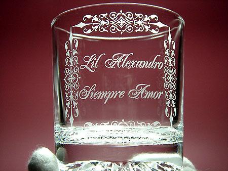 名入れ彫刻ペアロックグラス
